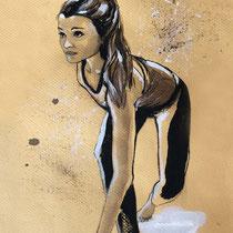 Portrait Danseuse, brou de noix et encre de chine, 29.7x21 cm, réalisé par Natpalette