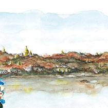 Collines de Sagaing avec bébé coiffé, technique mixte, composition, réalisé par Natpalette
