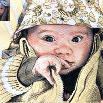 Portrait de bébé au bob, aux trois crayons, 21x29.7 cm, réalisé par Natpalette