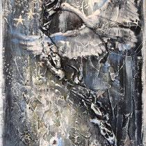 Envol, technique mixte sur toile, 40x30 cm, abstrait réalisé par Natpalette (VENDU)