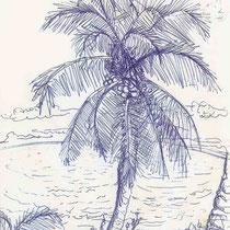Aux îles Marquises, stylo sur carnet de voyage, réalisé par Natpalette