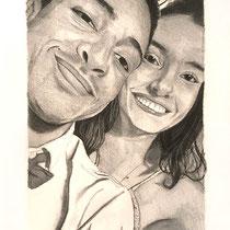 Portrait de couple, pierre noire, 42x29.7 cm, réalisé par Natpalette