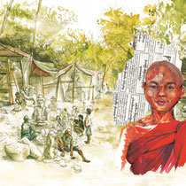 A Mandalay, technique mixte, crayon graphite, aquarelle et acrylique, réalisé par Natpalette