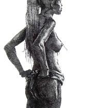 Vénus d'Argile, stylo noir, 42x29.7 cm, portrait réalisé par Natpalette (VENDU)