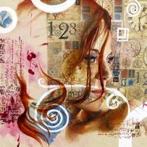 Pensée, technique mixte sur toile, 62x84 cm, portrait réalisé par Natpalette (VENDU)
