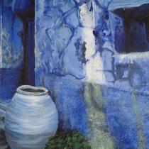 Devanture maison grecque, technique mixte sur toile, 60x50 cm, paysage réalisé par Natpalette (VENDU)