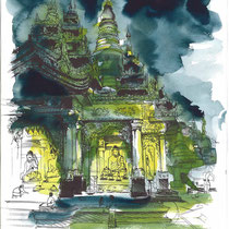 Pagode Shwedagon de Yangon 2, aquarelle et stylo sur papier aquarelle, carnet de voyage, réalisé par Natpalette