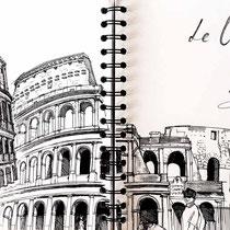 Colisée de Rome, stylo sur carnet de voyage, réalisé par Natpalette