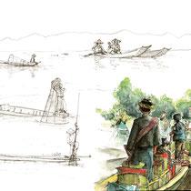 Les Inthas sur le lac, aquarelle et stylo sur carnet de voyage, réalisé par Natpalette