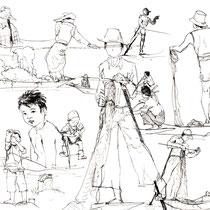 Croquis de pêcheurs sur le lac Inle, stylo sur carnet de voyage, réalisé par Natpalette