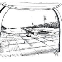 En attente du décollage, stylo sur carnet de voyage, réalisé par Natpalette