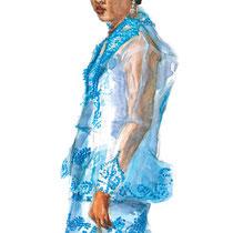 Jeune femme en vêtements de cérémonie, aquarelle et gouache sur carnet de voyage, réalisé par Natpalette