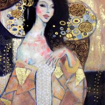 Inspiration Klimt, acrylique sur toile, 100x65 cm, portrait réalisé par Natpalette (VENDU)