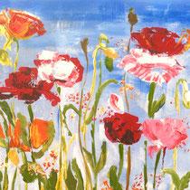 Printemps, acrylique sur toile, 33x41 cm, paysage stylisé réalisé par Natpalette (VENDU)