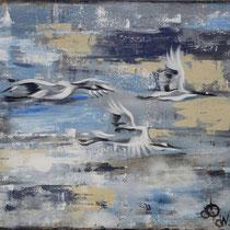 En vol, acrylique sur toile, 50x60 cm, paysage stylisé réalisé par Natpalette (à retrouver dans la BOUTIQUE)