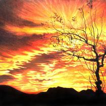Soleil couchant, pastels secs, 50x65 cm, paysage réalisé par Natpalette (VENDU)