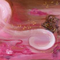 Songe féminin, acrylique et collage sur toile, 38x55 cm, abstrait réalisé par Natpalette (à retrouver dans la BOUTIQUE)