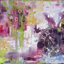Songe fleuri, acrylique et collage sur toile, 38x55 cm, abstrait réalisé par Natpalette (à retrouver dans la BOUTIQUE)