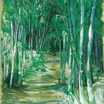 Forêt de bambous, gouache sur papier de pindaya, carnet de voyage, réalisé par Natpalette
