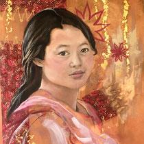 Douce birmane, collage et acrylique sur toile, 117x90 cm, portrait de voyage réalisé par Natpalette (à retrouver dans la BOUTIQUE)