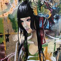 Geisha moderne, technique mixte sur toile, 73x60 cm, portrait de voyage réalisé par Natpalette (à retrouver dans la BOUTIQUE)