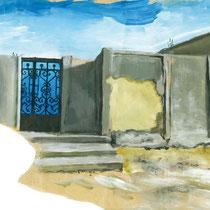 Entrée bleue dans le village, acrylique sur papier kraft, carnet de voyage, réalisé par Natpalette