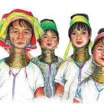 Les femmes girafes, crayons de couleur sur carnet de voyage, réalisé par Natpalette