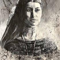 Fierté Indienne, huile et acrylique sur toile, 65x50 cm, portrait de voyage réalisé par Natpalette (à retrouver dans la BOUTIQUE)