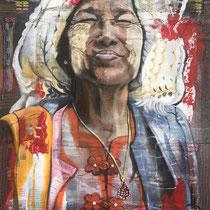 Bonheur Birman, huile et acrylique sur tissus, 65x50 cm, portrait de voyage réalisé par Natpalette (à retrouver dans la BOUTIQUE)