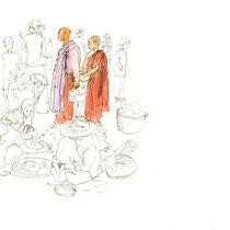 Nonne et moinillon au marché, stylo et touche d'aquarelle sur carnet de voyage, réalisé par Natpalette