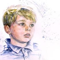 Portrait enfant, aquarelle, 21x29.7 cm, réalisé par Natpalette