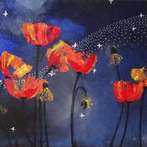 Coquelicots dans la nuit, acrylique sur toile, 33x41 cm, paysage stylisé réalisé par Natpalette (VENDU)