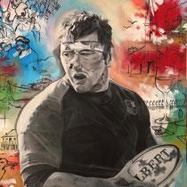 Portrait Sylvain, huile et acrylique sur toile, 92x73 cm, réalisé par Natpalette