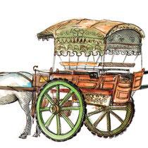 Carriole à chevaux, aquarelle et stylo sur carnet de voyage, réalisé par Natpalette