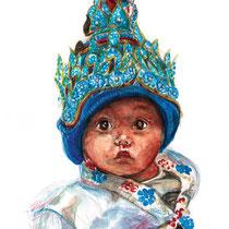 Petit bébé coiffé, aquarelle, gouache et crayons de couleur sur carnet de voyage, réalisé par Natpalette