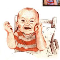 Portrait de bébé, sanguine, 29.7x21 cm, réalisé par Natpalette