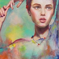 Prunelle, huile et acrylique sur toile, 65x54 cm, portrait réalisé par Natpalette (à retrouver dans la BOUTIQUE)
