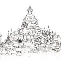 Pagode de Mandalay, stylo sur carnet de voyage, réalisé par Natpalette
