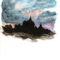 Pagode au soleil couchant, aquarelle et encre de chine sur papier aquarelle, carnet de voyage, réalisé par Natpalette