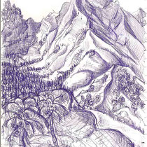 Hiva Oa aux îles Marquises, stylo sur carnet de voyage, réalisé par Natpalette