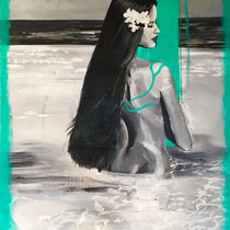 Tahitienne au lagon, acrylique sur toile, 92x74 cm, portrait de voyage réalisé par Natpalette (à retrouver dans la BOUTIQUE)