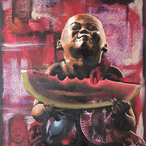 Petit moine à la pastèque, huile, acrylique et collages sur toile, 65x50 cm, portrait de voyage réalisé par Natpalette (à retrouver dans la BOUTIQUE)