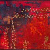 Inspiration ethnique, acrylique sur toile, 50x60 cm, abstrait réalisé par Natpalette (à retrouver dans la BOUTIQUE)