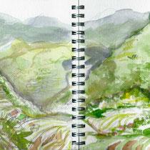 Les rizières de Banaué aux Philippines, aquarelle sur carnet de voyage, réalisé par Natpalette