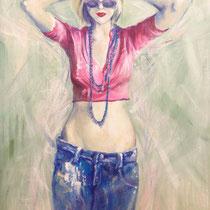 Esprit rock, acrylique sur toile, 55x46 cm, portrait réalisé par Natpalette (à retrouver dans la BOUTIQUE)