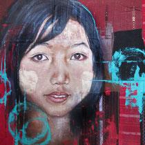 Birmane aux joues tanakha, acrylique sur tissus, 62x74 cm, portrait de voyage réalisé par Natpalette (VENDU)