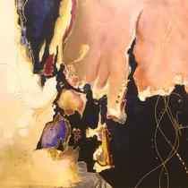 Abstrait, acrylique sur toile, 50x60 cm, abstrait réalisé par Natpalette (VENDU)