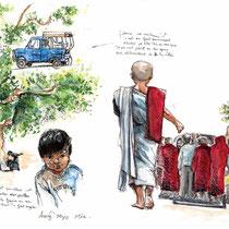 Arrivée à Mandalay, aquarelle-stylo-feutre noir sur carnet de voyage, réalisé par Natpalette
