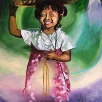 Petite vendeuse birmane, huile et acrylique sur toile, 65x50 cm, portrait de voyage réalisé par Natpalette (à retrouver dans la BOUTIQUE)