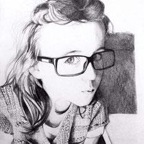 Portrait jeune fille, crayons graphites, 29.7x21 cm, réalisé par Natpalette